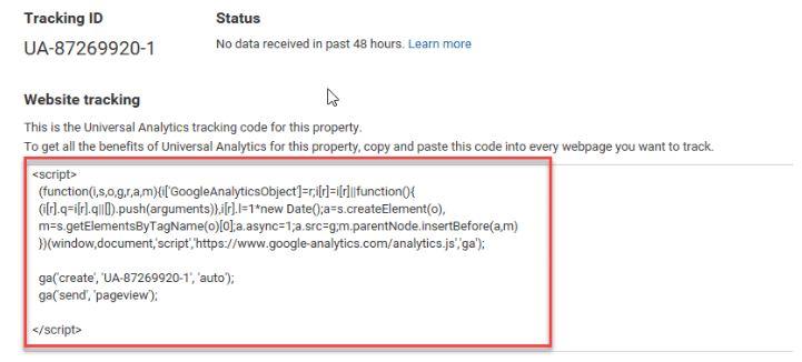 Cài đặt mã Tracking của Google Analytics