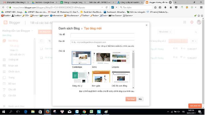 Cách tạo blogspot.