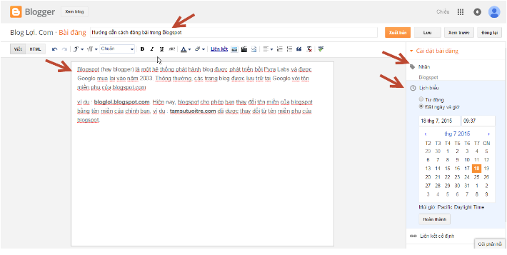 Cách đăng bài trên blogspot