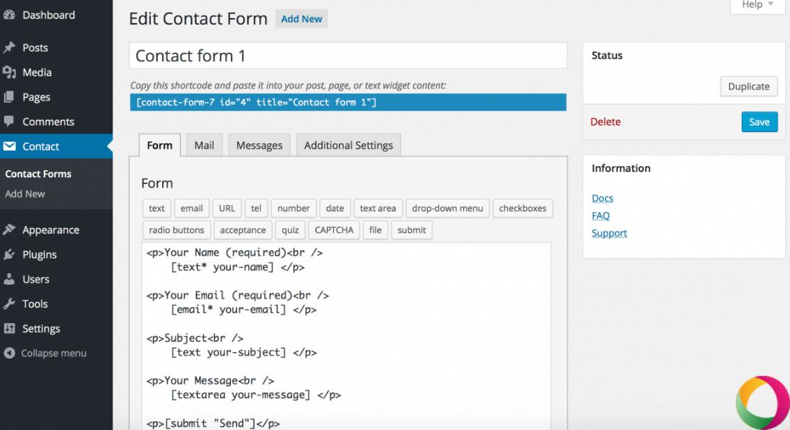 Tạo form với Contact Form 7