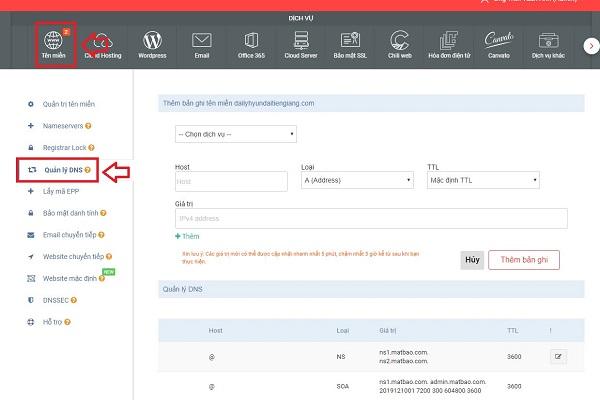 trỏ domain về hosting