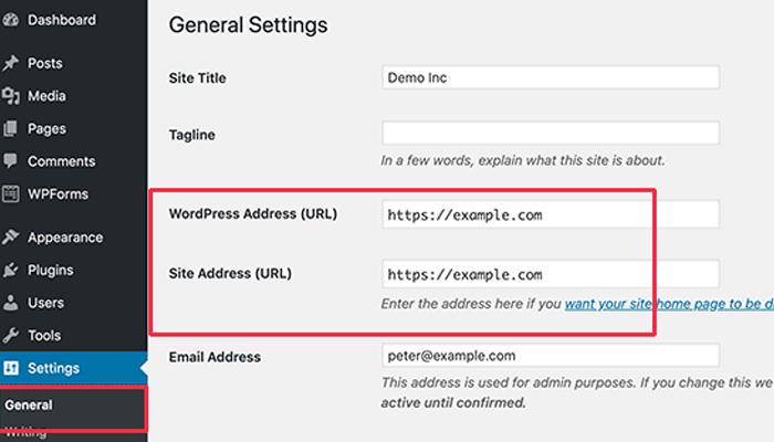 Đổi tên miền WordPress trong trang quản trị WordPress